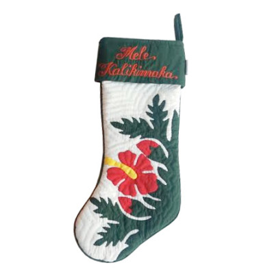 Christmas Stocking Red Hibiscus