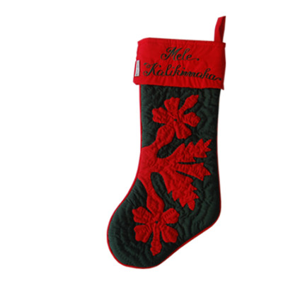 Christmas Stocking Red on Green