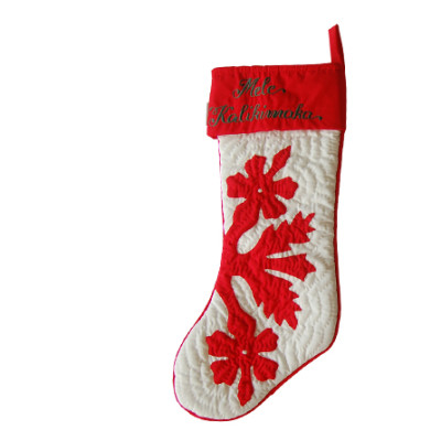 Christmas Stocking Red on Offwhite