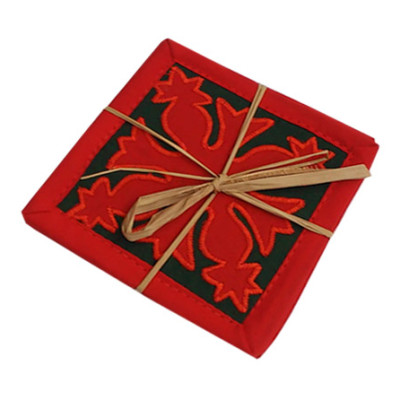 Coasters Red on Green Pine